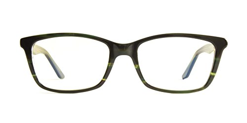 Pixel Eyewear Designer Computer Glasses with Anti-Blue Light Tint UV Protection, Anti-Glare, Full Rim, Acetate Frame Striped Green Color - Oryc Style