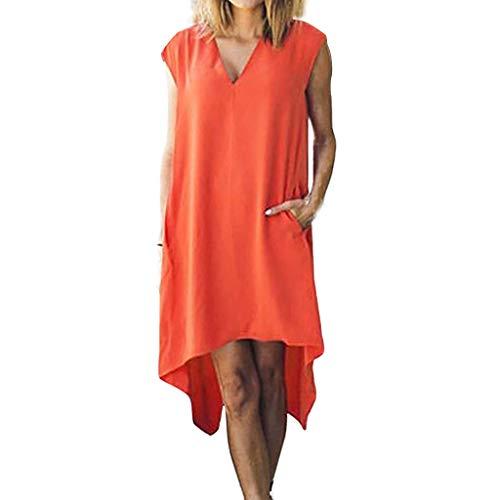 Cebbay Sleepwear Damen Basic-Kleid, einfarbig, sexy, V-Ausschnitt, Ärmel, Kapuze, unregelmäßig, lässiges Kleid mit eleganten Taschen, Mini-Kleid, Abendkleid (S-2XL) Gr. X-Large, Orange