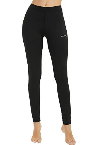 COOLOMG Women's Thermal Compression Pants Baselayer Fleece-Lined Winter Workout Yoga Running Tights Black XS