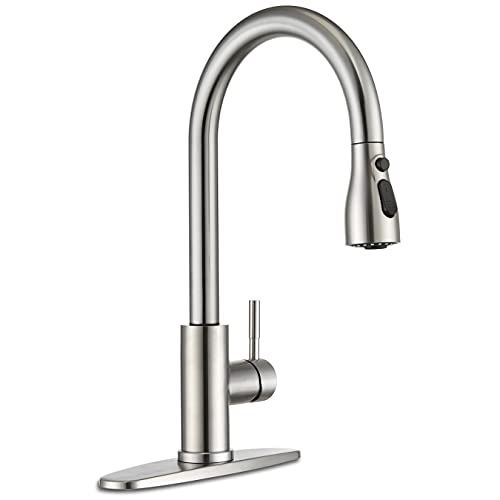 Kitchen Sink Faucet , Kitchen Faucet Stainless Steel, [Update] 3-Function Pull Down Sprayer, Commercial Modern rv High Arc Single Hole Sink Faucet with Deck Plate, Grifos De Cocina, Brushed Nickel