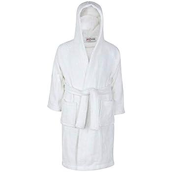 Kids Girls Boys 100% Cotton Soft Terry Hooded - Towel Bathrobe White 9-10