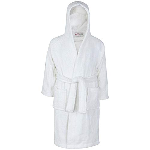 Kids Girls Boys 100% Cotton Soft Terry Hooded - Towel Bathrobe White 13