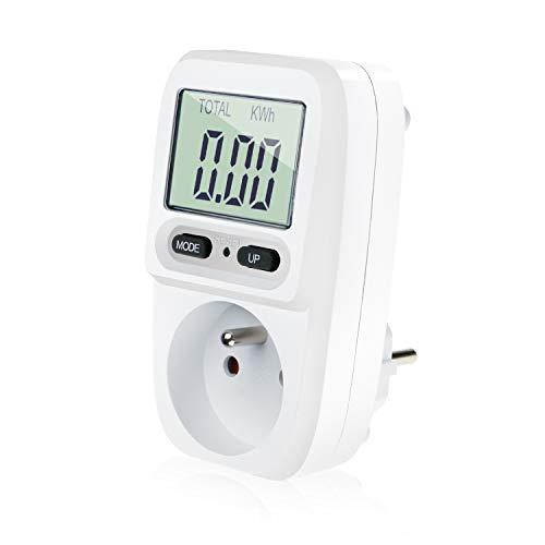 Zaeel Wattmètre prise compteur d'énergie, consommation d'énergie mètre Contrôleur de Consommation Electrique avec l'écran d'affichage à cristaux liquides, puissance maximum 3680W