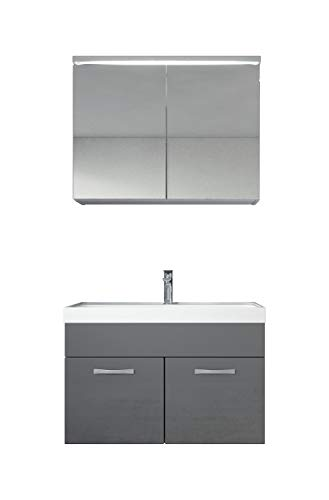 Badezimmer Badmöbel Set Paso 02 80 cm Waschbecken Hochglanz Grau Fronten - Unterschrank Schrank Waschbecken Spiegelschrank Schrank