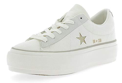 Converse Sneakers One Star Platform Ox Bianco-Oro 560985C - 39.5, Bianco