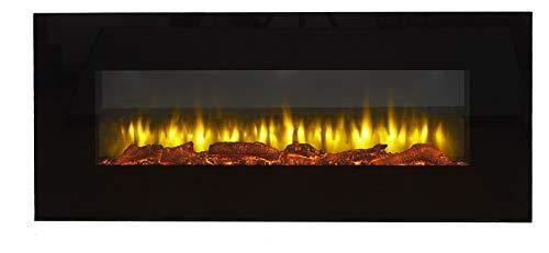 Cheminée électrique murale Holbeck Endeavour, écran plat en verre noir, Télécommande programmable 7 jours (Longueur 1270 mm x Hauteur 550 mm x Largeur profondeur 140mm)