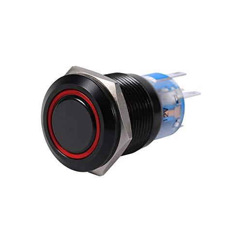 Interruptor de botón de bloqueo de cierre automático, Interruptor de botón alto al ras del metal negro Shell, 19mm 12V Control de encendido/apagado LED de cierre 1NO1NC(Rojo)