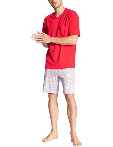 CALIDA Herren Relax Imprint 3 Zweiteiliger Schlafanzug, Rot (Tango red 156), Large (Herstellergröße:L)