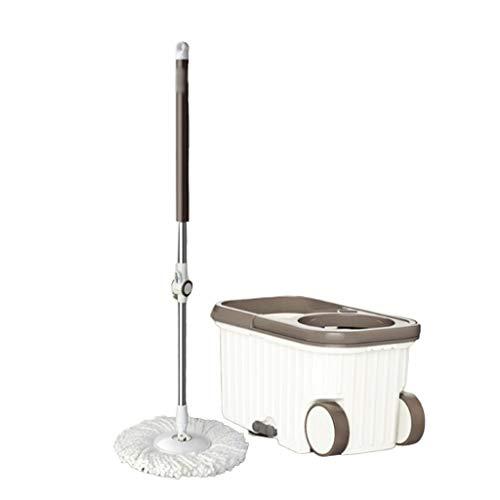 Kiki Juego de fregona giratoria de microfibra y cubeta para piscina, secado automático, doble unidad, sin presión, limpieza de suelo (color: blanco, tamaño: y 2 cabezales de fregona)