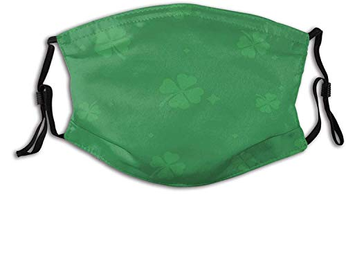 St. Patrick's Day Mask, Reusable Washable Balaclavas with 2 Pcs Filters-Clover Four-Leaf Clover-One Size