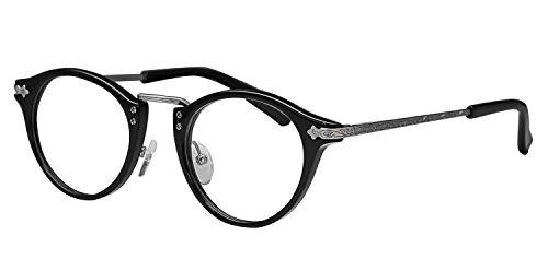 鯖江ワークス(SABAE WORKS) 遠近両用メガネ 老眼鏡 ボストン RN1031 (遠近両用 度数+2.00, C1 ブラック)