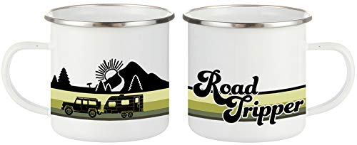 Product Image 1: FuanYuanfang Funny Camper Coffee Mug – ROAD TRIPPER Enamel Campfire Mug – Mountain Camping Coffee Cup, Nature Outdoor Hiking Birthday Christmas Camp Lover Gifts for Man, Woman, Friends 11oz