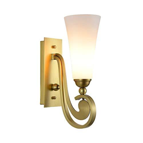LLLKKK Lámpara de pared de cobre para dormitorio, lámpara de noche, estudio, salón, TV, E14