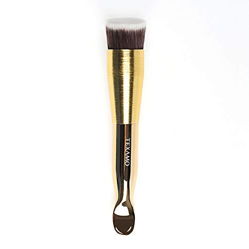 Drametree Pinceau de maquillage multi-fonctions Pinceau Foundation Gold Poignée courbée Crème en poudre Crème de fard à joues Ombre ultra-fine Ombre de fondation oblique spéciale Pinceau sur la poudre