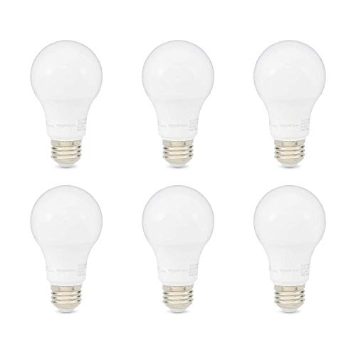 AmazonBasics 60W Equivalent, Daylight, Dimmable, CEC Compliant, A19 LED Light Bulb | 6-Pack