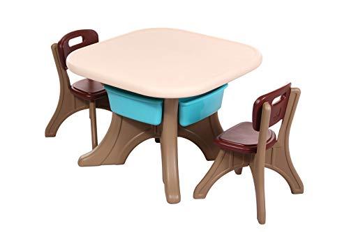 Clamaro 'Creative' Kindersitzgruppe Garten mit Tisch und 2 Stühlen, Kinder Sitzgruppe für drinnen oder draußen aus wetterfestem und uv-beständigem Kunststoff - Braun / Beige