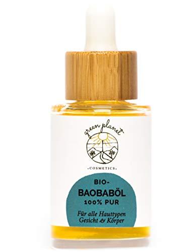 green planet COSMETICS Kaltgepresstes, Bio Baobaböl | Gesichtöl & Körperöl | Reichhaltige Pflege für sehr trockene oder reife Haut | 100{fc8426a429d0f7013898e6339d0e8ba921d057c2083be8c937053a1f7f7fa637} Natürlich & Vegan | 30ml