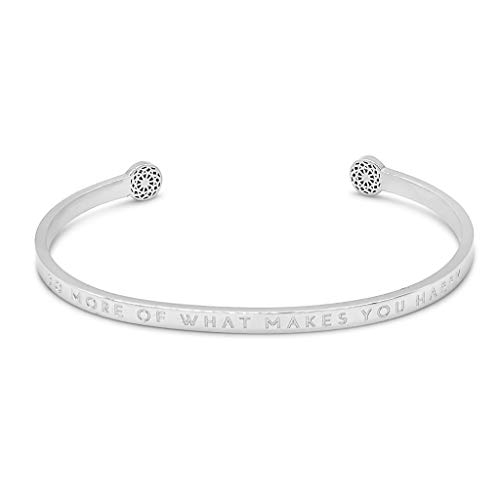 Simple Pledge - Do More of What Makes You Happy - Blind - Armreif in Silber mit Gravur für Damen