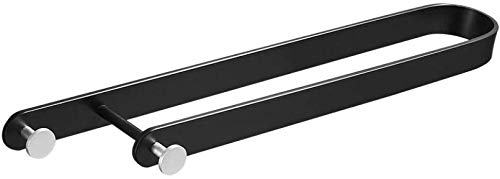 YANGSANJIN Badezimmer Wand- Handtuchhalter Schwarz Single Pole Badezimmer Anhänger Handtuchhalter Freies Stanzen Montage Handtuchhalter (Farbe: Hooked Handtuchhalter 35cm)