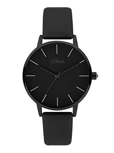 s.Oliver Damen Analog Quarz Uhr mit Leder Armband SO-3825-LQ
