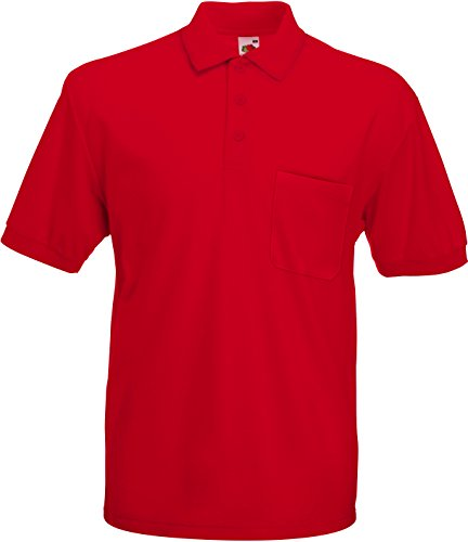Fruite of the Loom Polo Shirt mit Brusttasche, vers. Farben XXL,Rot