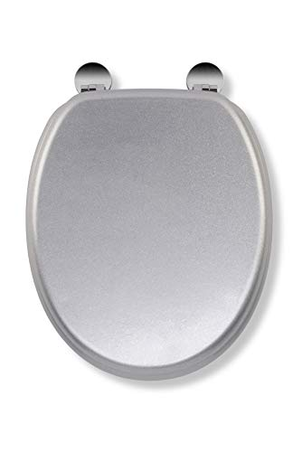 Croydex WL601840H Flexi-Fix Quartz Always Fits Never Slips Anti Bacterial Toilet Seat, Wood, Silver, 44.5 x 38 x 6 cm