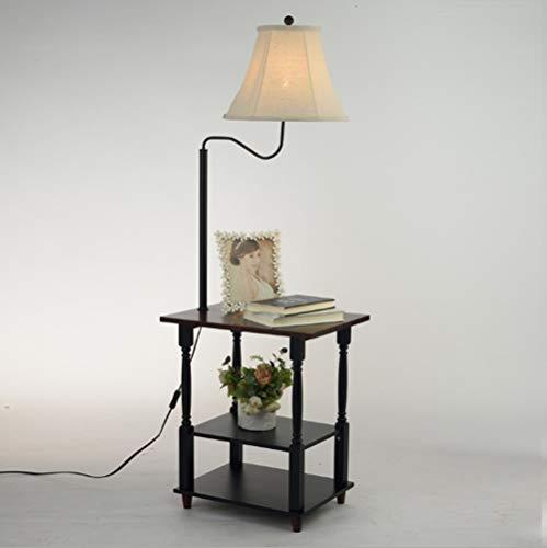 PNYGJLDD Retro Wood Art staande lamp planken & nachtkastje met lamp bevestigd - Mid Century modern bijzettafel voor woonkamer 140 * 51 cm