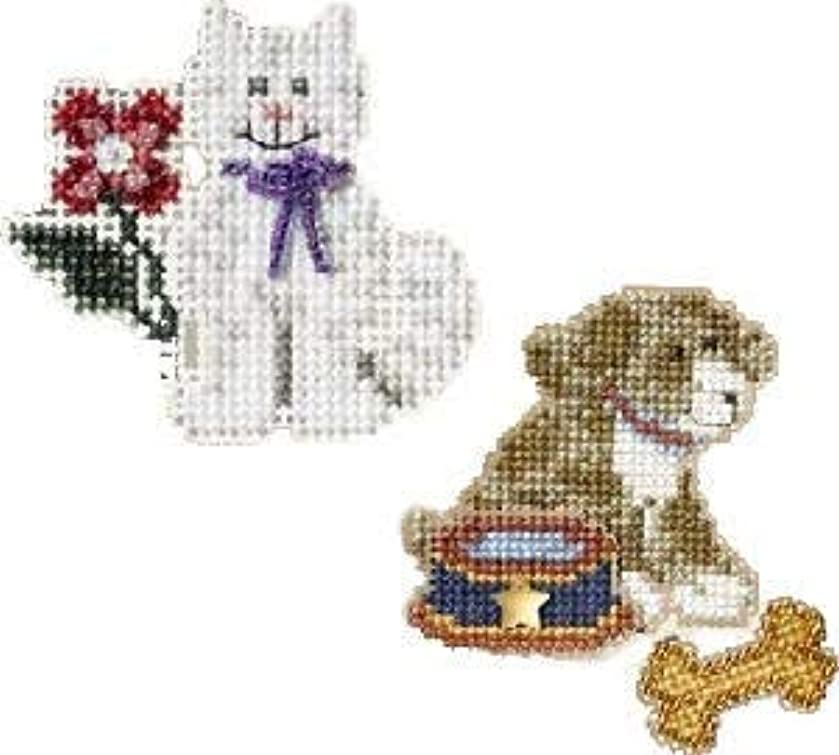 2 Kit Bundle, Counted Glass Beads : Dog and Cat