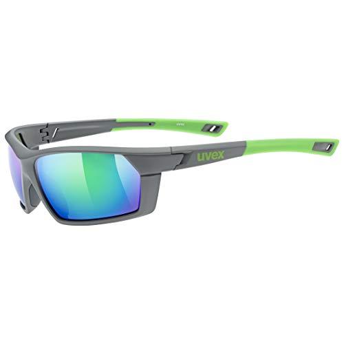 uvex Unisex– Erwachsene, sportstyle 225 Sportbrille, grey/green, one size
