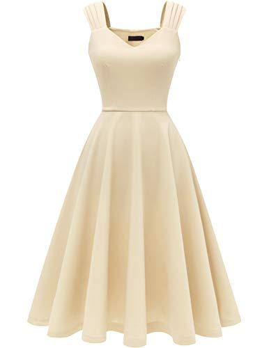 DRESSTELLS Damen 1950er Midi Rockabilly Kleid Vintage V-Ausschnitt Hochzeit Cocktailkleid Faltenrock Champagne 2XL