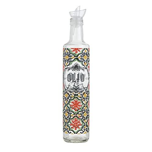 Baroni Home Aceitera de cristal estampada para mesa con tapón antigoteo Cefalú, fabricada en Italia, 500 ml