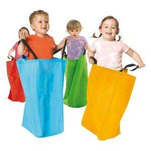 Equilibre et Aventure Amusement d'enfant : Lot de 4 Grands Sacs en Tissu avec poignées de 55 x 25 x 25 cm pour Course en Sac d'enfants.