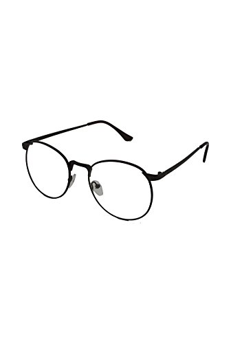 Finecy In Unisex Round Clear lens Retro Vintage Nerd Geek Fashion Specs Metal Glasses Gun Metal Frame with Clear Lens
