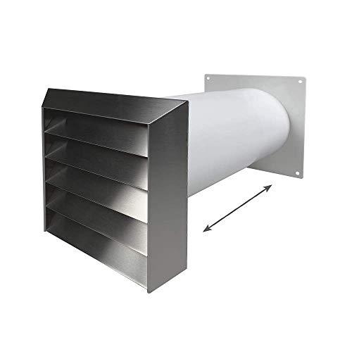 EASYTEC® Mauerkasten Ø 150 mm Edelstahl mit Teleskoprohr & einer Rückstauklappe 3350661115658