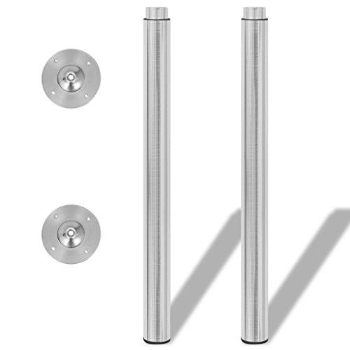 Festnight 2X Teleskopische Tischbein Tischbeine Stützfuß Höhen Verstellbar Gebürstetes Nickel 710mm-1100mm