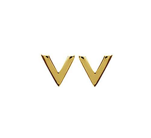 Tata Gisèle - Pendientes chapados en oro de 18 quilates, en forma de V, triángulo abierto, bolsa de terciopelo