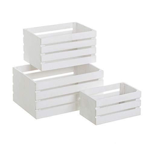 LOLAhome Set de Cajas de Fruta de Madera Blanco rústico para decoración Vitta