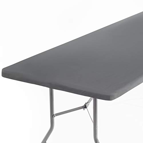 Signature Home 4ft Fitted Tablecloth Rectangle Grey Table Cover – Table Cloth - Fitted Table Covers for 4 Foot Tables. Washable Picnic Table Cover Indoor Outdoor Elastic Tablecloth 24 x 48 inch