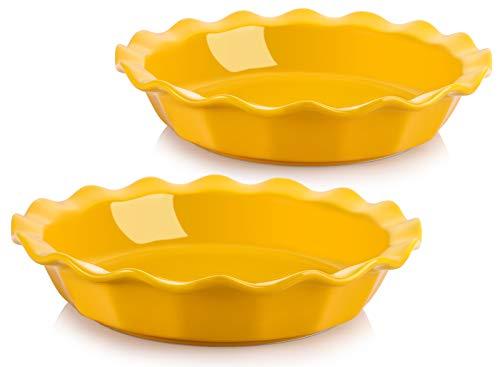 AVLA 2 Pack Ceramic Pie Pan,