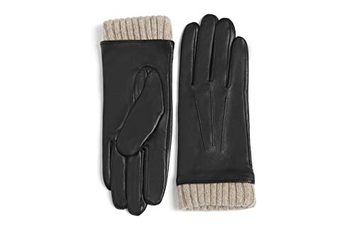 YISEVEN Damen Lederhandschuhe Gefüttert Touchscreenhandschuhe Lammfell Smartphone Handschuhe Leder Damenhandschuhe Warm Autofahrer Fahrerhandschuhe Autohandschuhe Geschenk, Schwarz Groß/7.5'