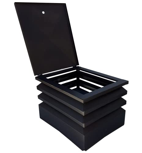 Comignolo grigio antivento antipioggia base rettangolare 10/10 fumaiolo x camino e canna fumaria (52 x 62 cm)
