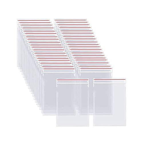 treseds 100/300 PCS Mini Bolsa de Bloqueo con Cremallera Resellable Vacuum Transparente Plastic Block Bolsas Clear Poly Kitchen Alimento Almacenamiento Organizar (Color : 5x7cm, Size : 100pcs)