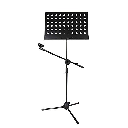 FGDSA Music Stand Music Book Stand Holder Portable Folding Music Stand Super Sturdy Adjustable Height Tripod Base with Microphone Stand Laptop Stand (Color : Black, Size : 49x145cm)