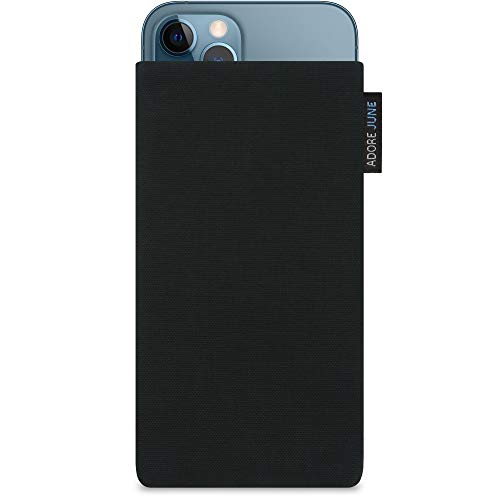 Adore June Classic Schwarz Tasche kompatibel mit iPhone 13 / iPhone 13 Pro/iPhone 12 / iPhone 12 Pro Handytasche aus beständigem Cordura Stoff mit Bildschirm Reinigungs-Effekt, Made in Europe