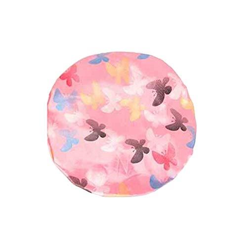 Bonnet de douche Zhouba pour femme Motif papillon double couche élastique imperméable