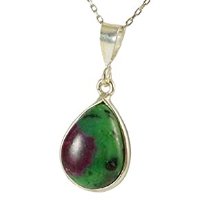 Sterling Silver Ruby Zoisite Gemstone Teardrop Pendant Necklace