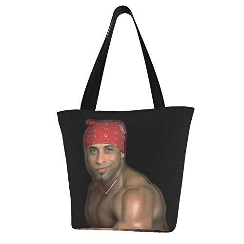 Ricardo Milos-Banana Man Canvas Tote Bags With Zipper And Inner Pocket Reusable Shopping Grocery Bags Cotton Handbags For Gift Fun Art Cosplay Travel