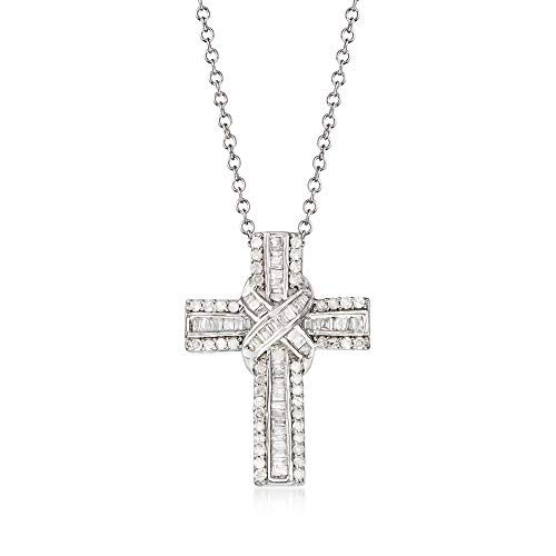 Ross-Simons 0.50 ct. t.w. Diamond Cross Pendant Necklace in Sterling Silver. 18 inches