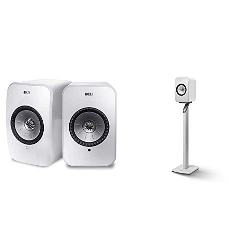 KEF Surround Powered Bluetooth Speaker Set of 2 White (LSXWH) Bundle with KEF Lsx S1 Floorstand (White, Pair)