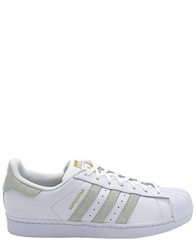 adidas Mens Superstar Foundation Sneaker,White/GRNGOLD,9.5